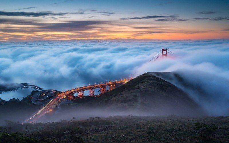 image photo San Francisco Golden Gate pont USA bridge dans les nuages fond écran wallpaper picture