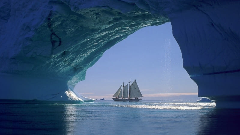 grotte de glace vue voilier wallpaper photo