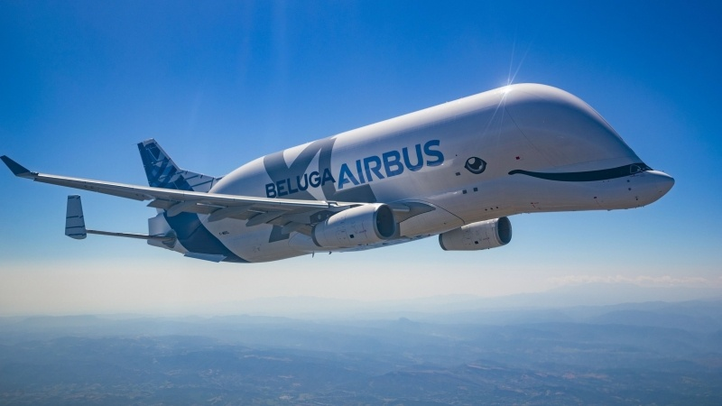 Avion Airbus Beluga en vol